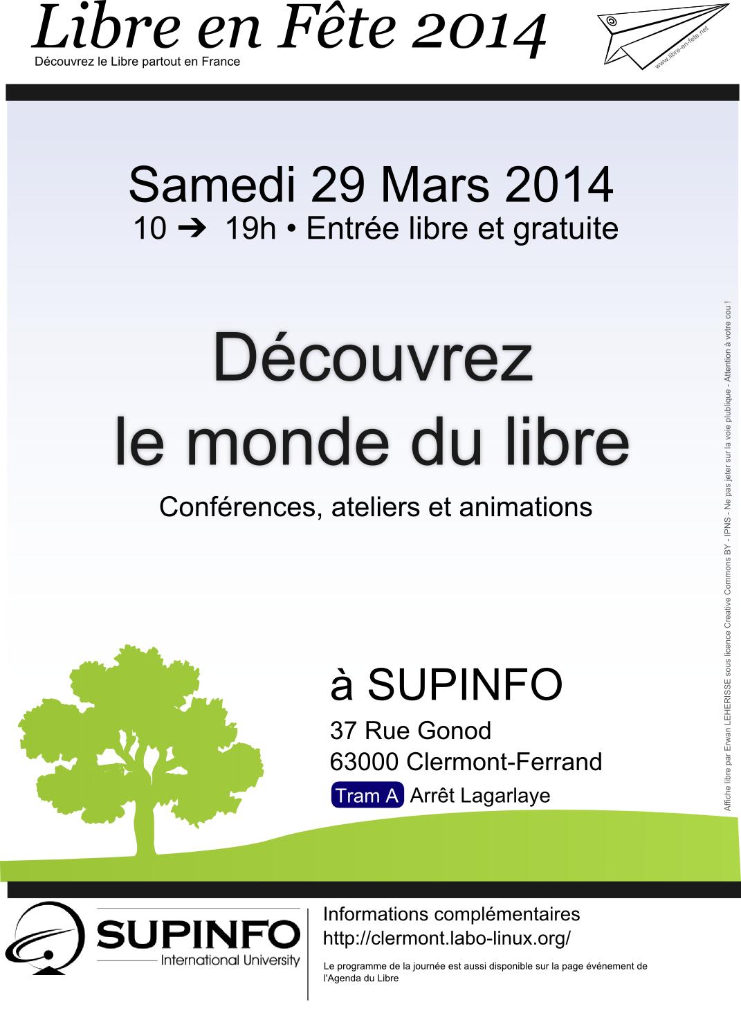 Affiche de l'événement Libre en Fête 2014 à SUPINFO Clermont-Ferrand